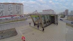 People walk near entrance to metro station Zhulebino Stock Footage