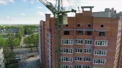 Building social housing neighborhood - aerial survey Stock Footage