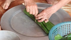 Millstone pounding meat, making daily dish Stock Footage