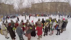 Stock Video Footage of Group of people in armour with shields and swords