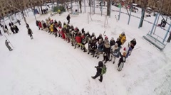Group of people in armour with shields and swords wait for battle - stock footage