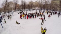 Fight of people in armour with shields and swords at winter day. - stock footage