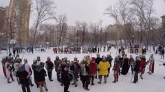 people in armour with shields and swords prepares for battle - stock footage