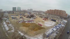 Building site of dwelling complex Nasledie at winter Stock Footage