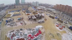 Construction site of residential complex at winter day. Stock Footage