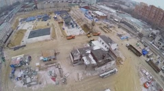 Building site of dwelling complex at winter day. Aerial view Stock Footage