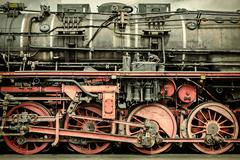 Retro styled image of an old steam locomotive - stock photo