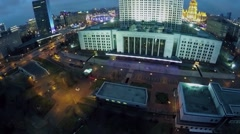 Street traffic near edifice of Russian Federation Government Stock Footage