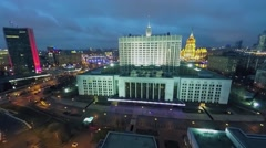 Cityscape with illuminated edifice of Russian Federation Government Stock Footage