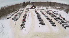 Many cars on parking place of skiing resort at winter Stock Footage