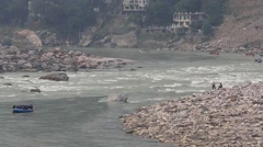 Indian people rafting in a river, Ganges River, Rishikesh, India Stock Footage