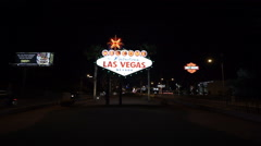 Las Vegas city limit sign by night - stock footage