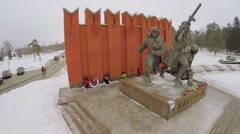Monument for Siberian Soldiers Protectors of Moscow Stock Footage