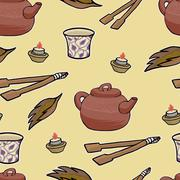 Chinese tea ceremony vector pattern illustration - stock illustration