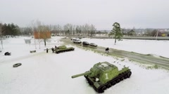 Tanks stand on snow in Lenino-Snigerevsky Museum Stock Footage