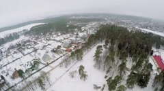 Village near museum of military history at winter Stock Footage