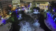 Park with garlands at winter evening on Chistye Prudi Stock Footage