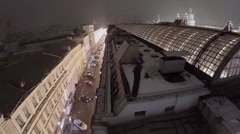 Glass roof and illuminated facade of shopping center at winter Stock Footage