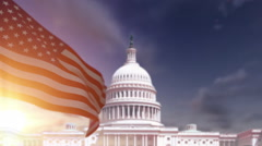 American Flag with US Capitol Building Stock Footage