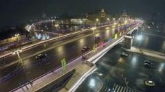 Cars ride by Bolshoy Moskvoretsky bridge with illumination Stock Footage