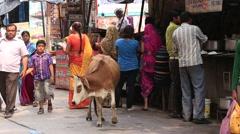 Indian people in street next Laxman Jhula footbridge on river Ganga, Rishikesh, Stock Footage