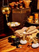Ayurvedic spa massage still life Stock Photos
