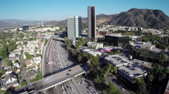 Aerial Shot of Burbank and 101 Freeway Stock Footage