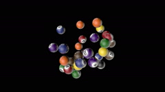 Lotto balls flying, 31 balls against light blue - stock footage