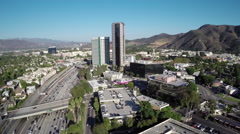 Stock Video Footage of Aerial Shot of Burbank and 101 Freeway