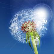 Dandelion seeds blown in the blue sky. Stock Illustration