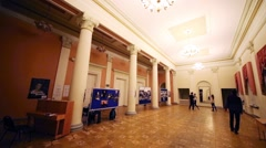 Students dance in hall of Russian State University of Cinematography Stock Footage