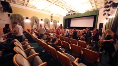 Students enter in auditorium for Scientific and Practical Conference Stock Footage