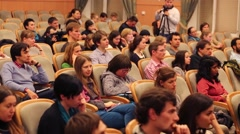 Students at Scientific and Practical Conference  in RSUC Stock Footage