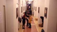 MStudents in hallway of Russian State University of Cinematography Stock Footage