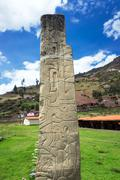 Tello Obelisk at the UNESCO World Heritage site of Chavin de Huantar in Peru Stock Photos