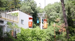 Colored funicular open wagons move near house among trees Stock Footage