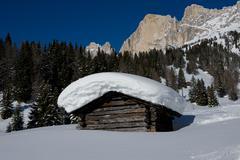 Chalet in the Dolomiti - stock photo