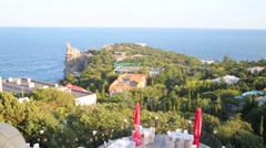 Panoramic view on town resort with castle Swallows Nest Stock Footage