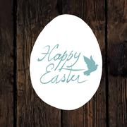 Stock Illustration of Easter Calligraphy Greeting. With traced wooden texture and Dove symbol