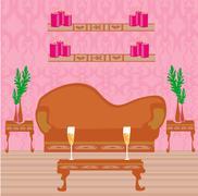 Fashionable interior of living room Stock Illustration