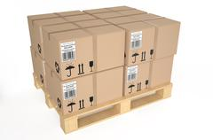 Cardboard boxes on pallet  - stock illustration