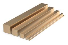 Set of bronze square rods Stock Illustration