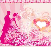 Stock Illustration of wedding dancing couple background