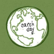 Stock Illustration of Earth day poster. On recycled paper texture