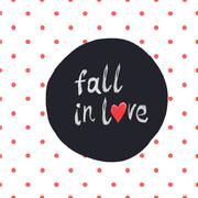 """Fall in love"" lettering with hand-drawn heart symbol on seamless red polka d Stock Illustration"