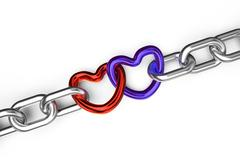 hearts connected chain - stock illustration