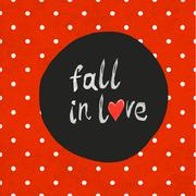 """""""Fall in love"""" lettering with hand-drawn heart symbol on seamless textured po Stock Illustration"""