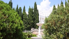 Fountain in front of Amphitheater with sculptures of fertility Stock Footage