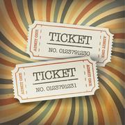 Two cinema tickets. On retro sunburst background - stock illustration