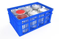 plastic crate  with a can of paint - stock illustration